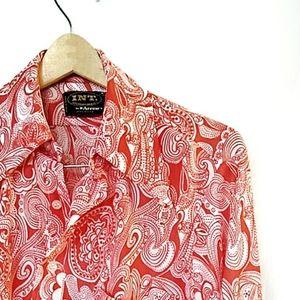 Vintage orange and white paisley nylon shirt.